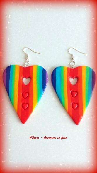 orecchini in fimo cuori arcobaleno