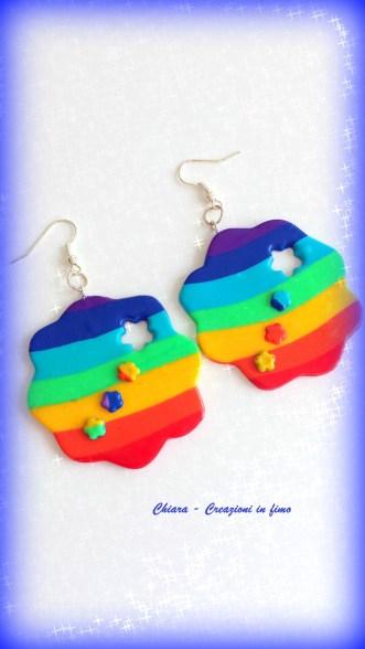 orecchini in fimo fiori arcobaleno