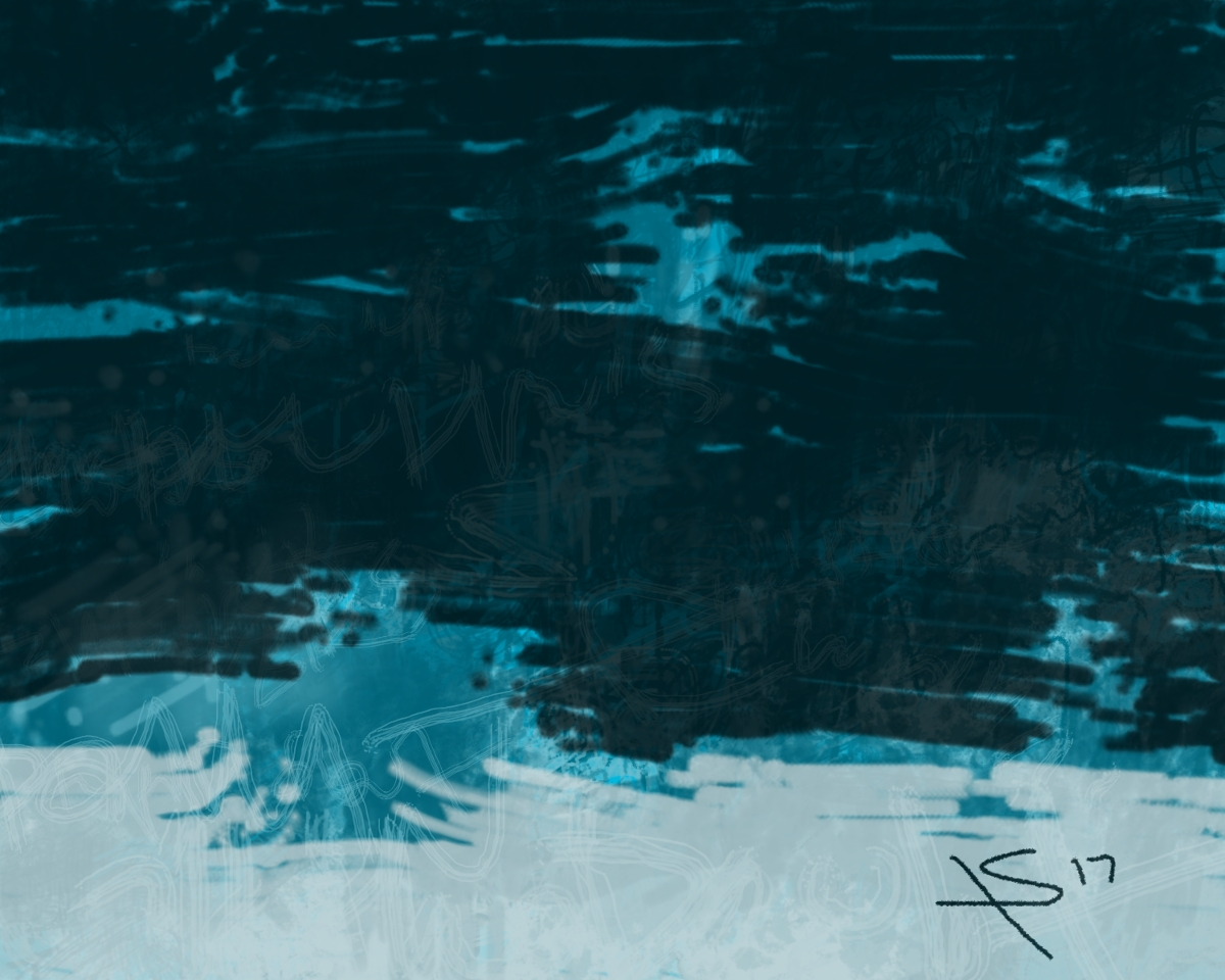 fear, digital art with text (darker blue on top, light blue on bottom, with two mid-value blue focal points