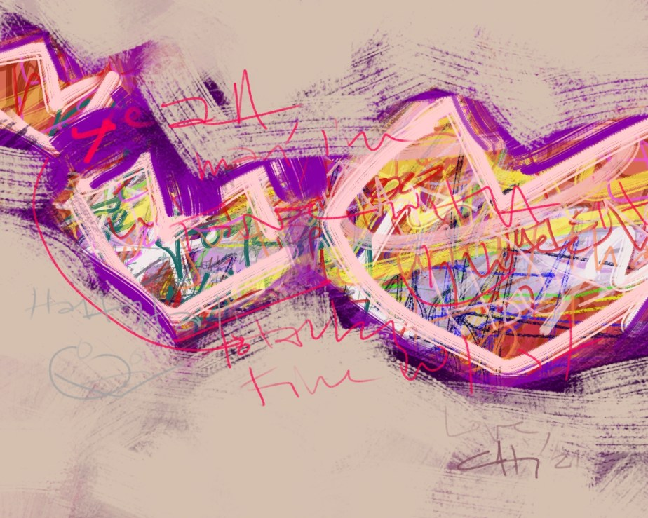 yeah, i'm fine with that - abstract digital art with text