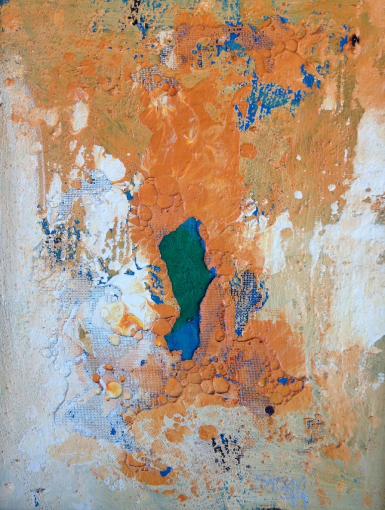 glimpse, abstract acrylic and latex painting on canvas board