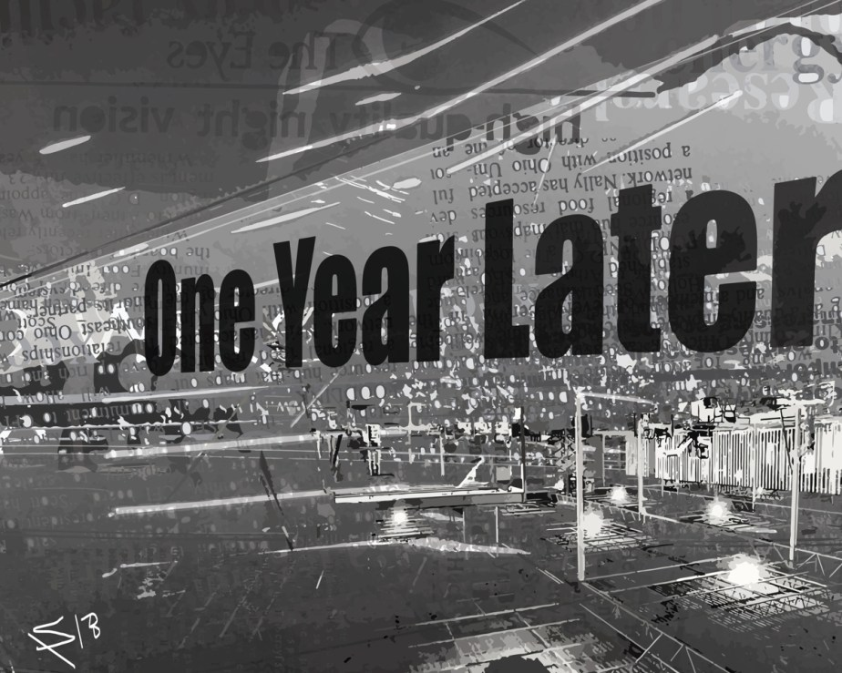 one year later, black and white vector text art made in Adobe Illustrator