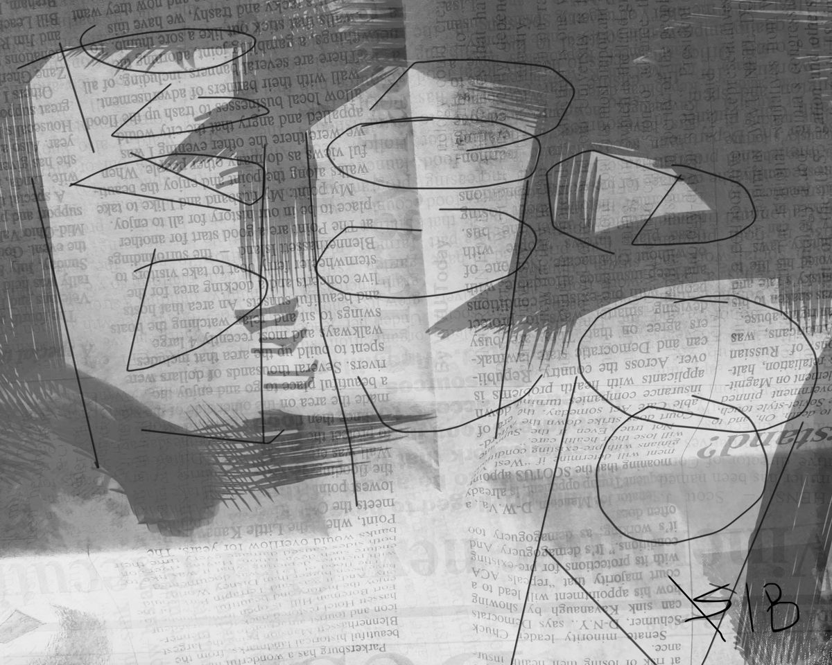 sunday afternoon at mojoe lounge, black and white digital newspaper art made in Gimp