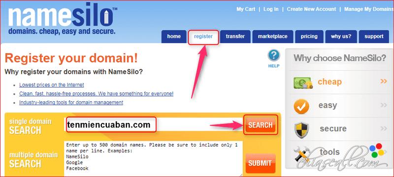 regiter domain non namesilo