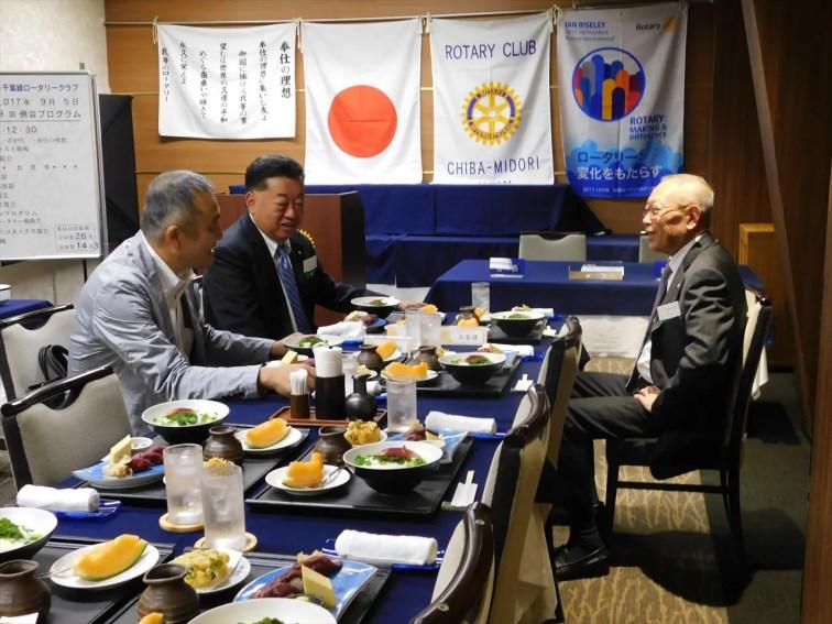 本日のお客様(横浜緑RC 井藤会長、大野幹事、武藤P会長)遠いところからいらしていただきありがとうございます。