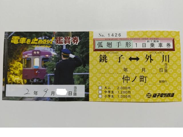 銚子電鉄弧廻手形(表)