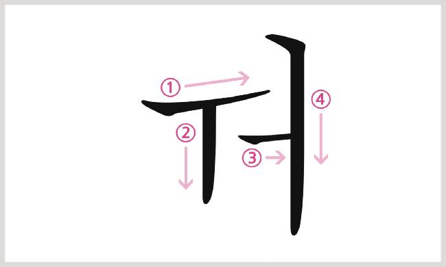 母音ㅝの書き順