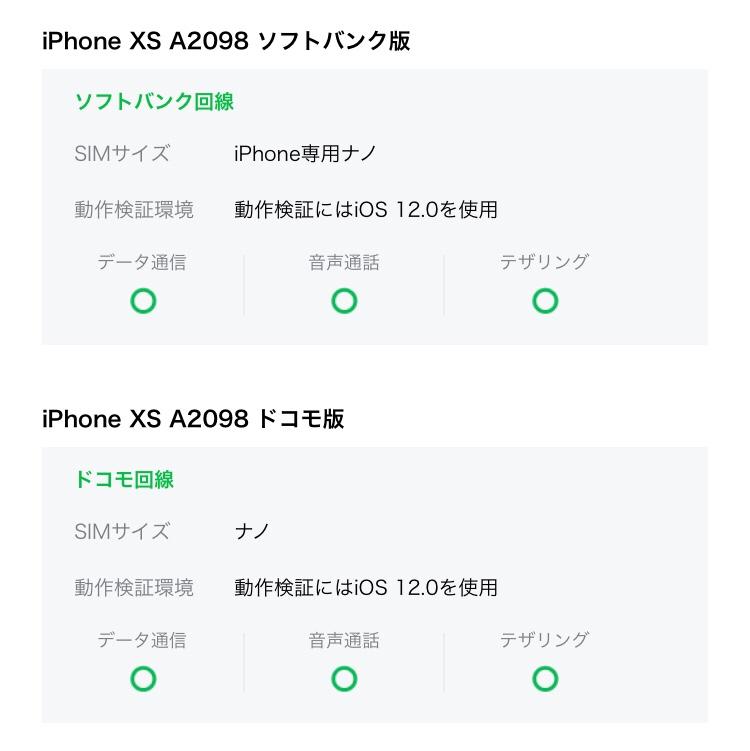 LINEモバイル iPhoneXS 対応状況2