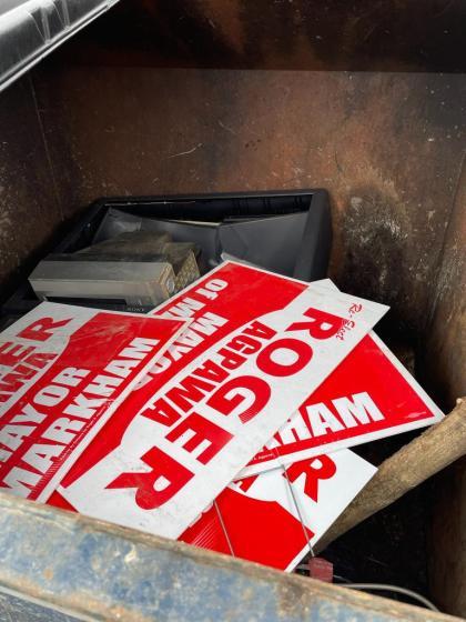 Markham Mayor Roger Agpawa Campaign Sign Vandalism