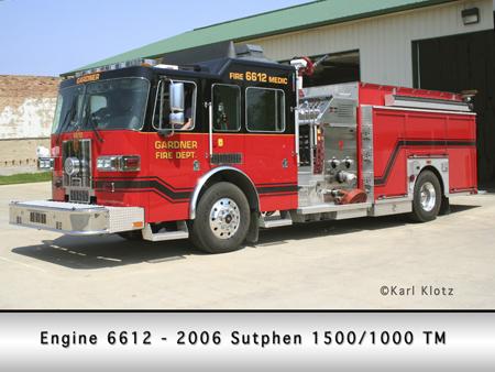 Gardner Fire Department Sutphen pumper