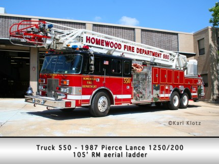 Homewood Fire Department Pierce Lance aerial
