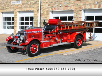 Lake Villa Fire Department 1933 Pirsch antique