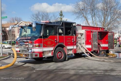 Schaumburg Fire Department house fire on Kingsport Drive 3-27-11 Pierce Velocity
