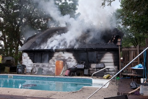 Long Grove Fire Department garage fire on Aptakisic July 27, 2011