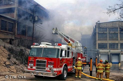 Massive fire in Peru IL Western Clock Company