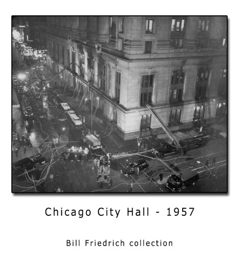 Historic photo of Chicago Fire Department City Hall Fire 1957