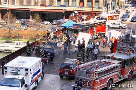 Filming a new TV show Chicago Fire in Chicago