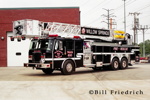 Willow Springs Fire Department black E-ONE tower ladder