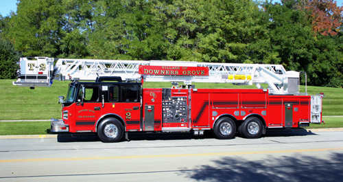 Downers Grove Fire Department Spartan Smeal tower ladder