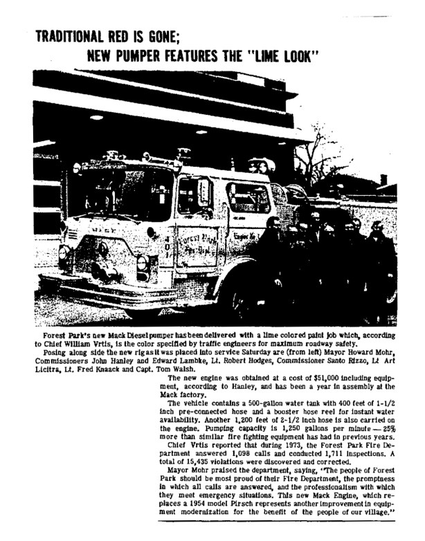 Forest park Fire Department 1974