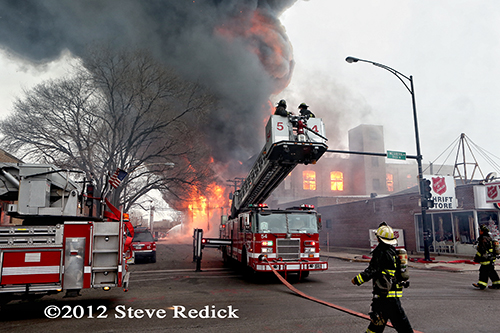 Chicago 4-11 Alarm massive fire at commercial warehouse facility 12-29-12 at 2444 S. 21st Street
