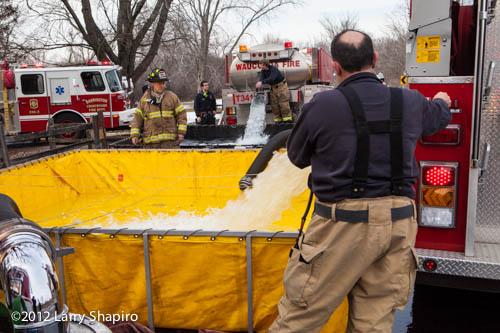 fire water tanker dumps water
