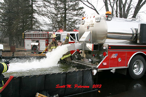 water tanker shuttle at fire scene