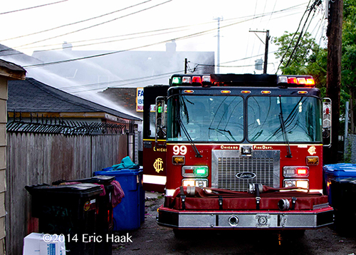 Chicago FD Engine 99 pumping at a fire