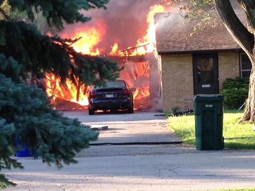garage engulfed in flames
