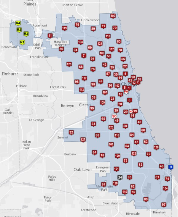 map of Chicago fire stations  chicagoareafirecom