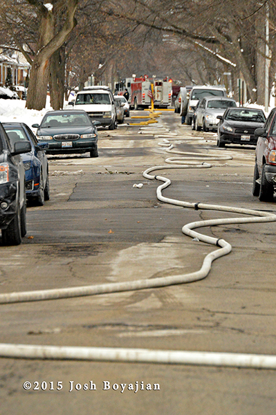 fire hose down two blocks