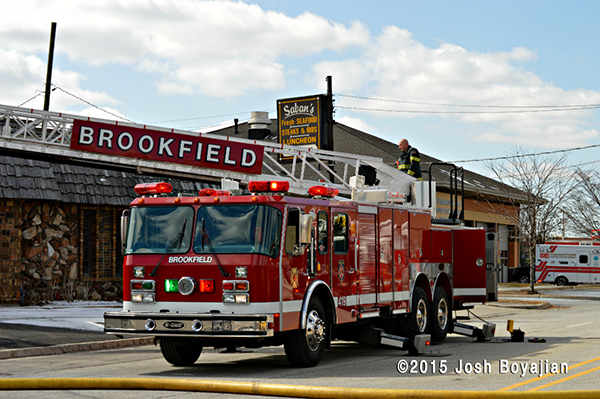 Brookfield FD E-ONE ladder truck at fire scene