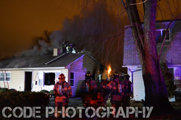 firemen at night house fire