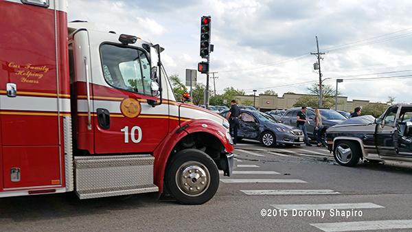 Freightliner ambulance at car crash