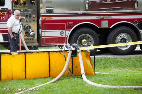 portable water tank at fire scene