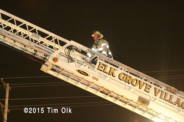 tower ladder working at fire scene