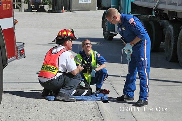EMS personnel at crash site