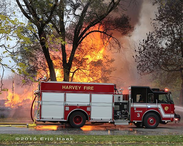 Pierce fire engine at fire scene