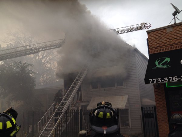 smokey house fire in Chicago