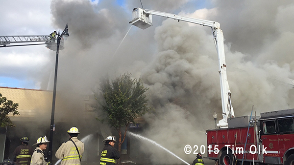 Chicago FD Snorkel at fire scene