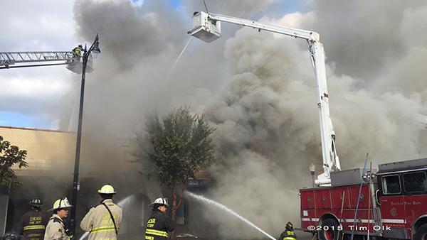 big fire scene in Chicago
