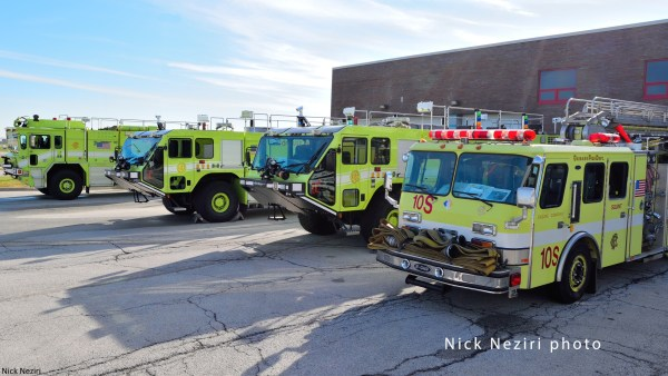 fire trucks at O'Hare Airport