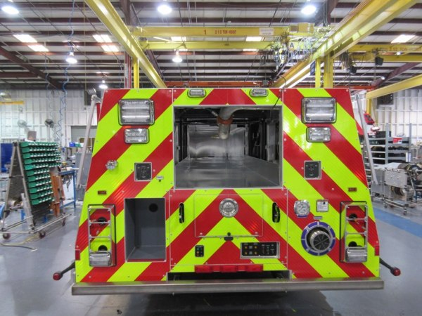 Fire truck being built for Chicago.