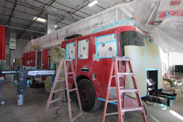 fire truck being repainted