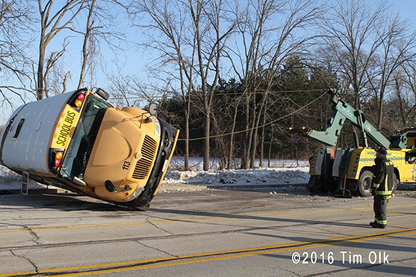 schoolbus that rolled over