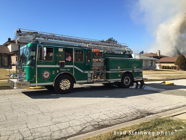 Thornton FD HME Tele-Squrt at fire scene