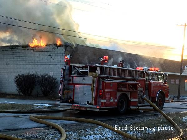 fire scene in East Hazel Crest IL