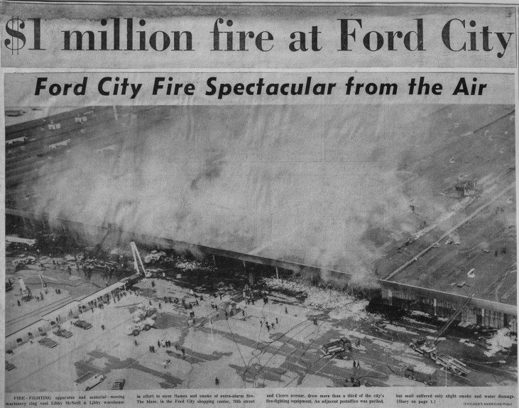 News clipping from an historic fire that destroyed the Ford City shopping center