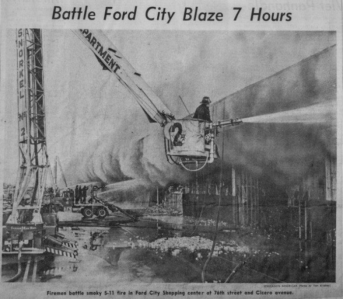 News clipping from an historic fire that destroyed mcCormick Place in Chicago on February 13, 1971