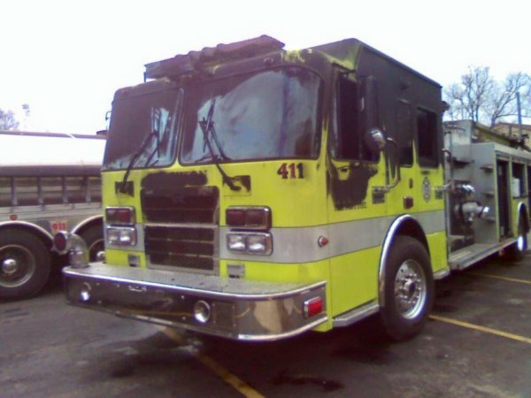 Stockton fire truck damaged during fire at the fire station 2-25-16.